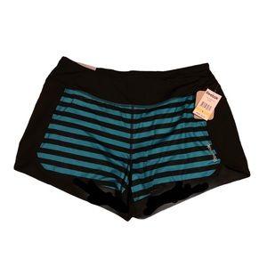 REEBOK Black & Bright Blue Striped AthleticShorts!